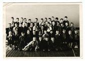 KURSK, USSR - CIRCA 1970:  An antique photo shows group  portrait of school graduates.