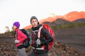 pic of canary-islands  - Hiking people on mountain - JPG