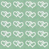 White Interwoven Hearts And Green Thin Stripes Horizontal Textured Fabric Background