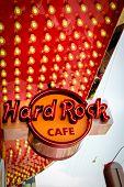 LAS VEGAS - APRIL 24 2012: Hard Rock cafe is a famous cafe features the world's largest Rock Shop located on the famous Las Vegas strip.