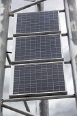 Solar battery panels mounted on metal frame