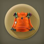 Travel backpack, long shadow vector icon