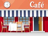 stock photo of awning  - Small street cafe with striped awning with table and chairs cups plates cake and coffee - JPG