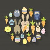 Easter Eggs Birds Rabbits And Carrots Icons Set