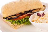 image of veggie burger  - delicious vegan burger with ciabatta bread grilled eggplant and salad