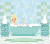 Girl Relaxes In The Bath