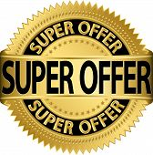 Super offer golden label, vector illustration