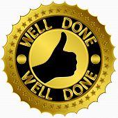 Well done golden label, vector illustration