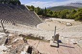 Antiguo anfiteatro de Epidauro en Peloponisos, Grecia
