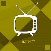 Retro tv. Flat modern web button   on a flat geometric abstract background