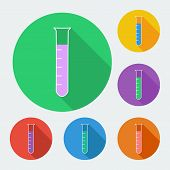 Test-tube icon with long shadow - vector illustration, six colors set.