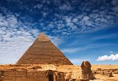 pic of burial-vault  - Cheops pyramid and sphinx in Giza - JPG