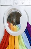 Washing Machine And Colorful Laundry To Wash