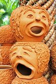 The Strange Pots Sculpture Look Like Human Face In Nong Nooch Tr