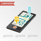 Real Estate Landmark Mobile Device Isometric Design Template Vector Illustration