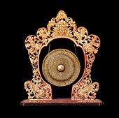 Vintage Musical Instrument - Traditional Balinese Gong, Isolated On Black Background. Bali Island
