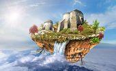 Castle On The Flying Island In Sky
