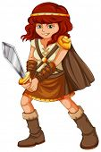 Illustration of a girl in viking suit
