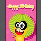 monster party happy birthday card design template