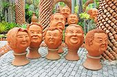 The Strange Pot Sculptures Look Like Human Face In Nong Nooch
