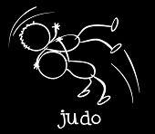 Illustration of two stickmen playing judo