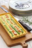 homemade vegetable quiche. asparagus, carrot, almond slice quiche.