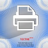Printer. Flat modern web design on a flat geometric abstract background