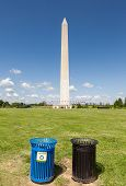 Recycle Bins With The Washington Monument