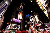 Times Square At Night With Broadway Theaters.
