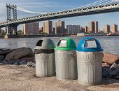 Recycle Bins In Front Of The Manhattan Bridge