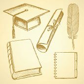 Sketch Graduation Hat, Book, Notebook, Feather Pen And Diploma Scroll
