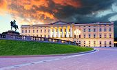 image of royal palace  - Royal palace in Oslo Norway at sunset - JPG
