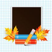 Photo Frame Decorated With Autumn Maple Leaves And School Subjects