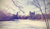 Vintage Picture Of Central Park Lake In Winter. New York, Usa.