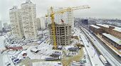 MOSCOW, RUSSIA - NOVEMBER 27, 2013: Construction of a new apartment house in the neighborhood Bogorodskoe, aerial view