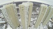 MOSCOW, RUSSIA - NOVEMBER 27, 2013: Buildings of residential complex Elk Island, aerial view. The complex consists of seven residential buildings