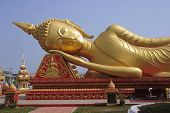 Big Gold Buddha In Vientiane