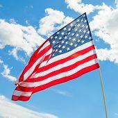 Usa Flag Waving On Blue Sky Background - Outdoors Shoot