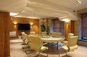 picture of business-office  - big meeting room in bright office with tv - JPG