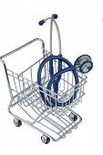 stethoscope and shopping cart, symbol photo for the medical profession and practice acquisition
