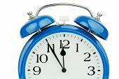 foto of punctuality  - a blue alarm clock on white background - JPG