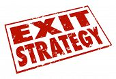 Exit Strategy words stamped in red ink giving a way out or escape from a contract, agreement or part