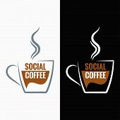 coffee cup social media concept background