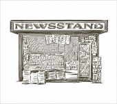 Newsstand. Hand drawn press kiosk. vector illustration.