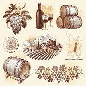 Hand drawn set - wine and winemaking