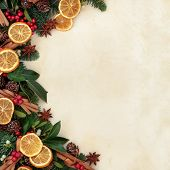 Christmas background border with dried fruit and cinnamon spice with fir, holly, ivy, mistletoe and pine cones over parchment paper.
