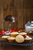 Mince pies on cooling rack for Christmas