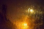 Rain On Glass At Night