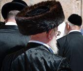 Jewish Hassidic Man At The Western Wall In Jerusalem