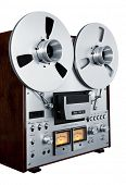 Analog Stereo Open Reel Tape Deck Recorder Vintage Isolated Closeup